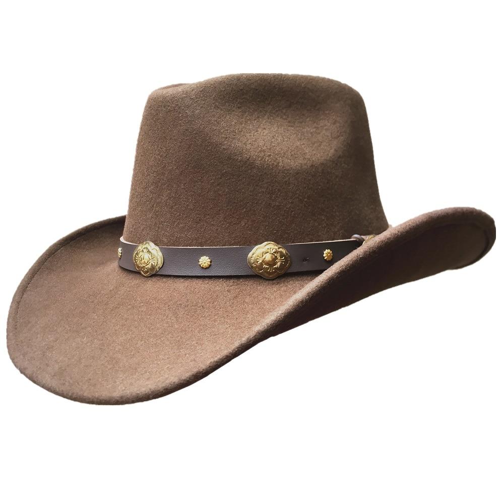 Unisexe Brun Hondo Couronne Laine Western Feutre De Cow-Boy Chapeau + LIVRAISON GRATUITE