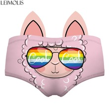 LEIMOLIS llama rainbow pink funny print sexy hot ear panties female kawaii Lovely underwear push up briefs women lingerie thongs