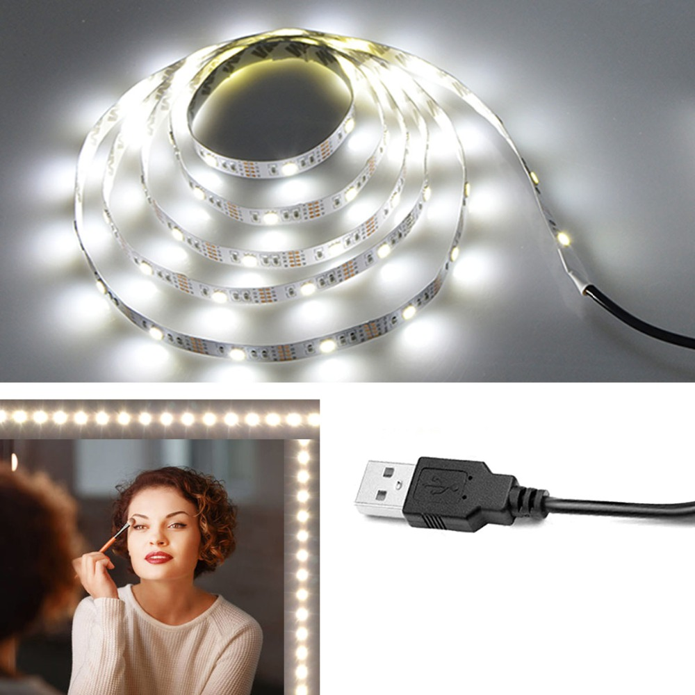Vanity Makeup Mirror Light 5V USB LED Flexible Tape USB Cable Powered Dressing Mirror Lamp Decor 0.5m -5m Cuttable 5050 30LEDS/M(China)