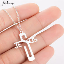 Jisensp Stainless Steel Cross Jesus Pendant Necklace Religious Jewelry Adjustable Silver Chain Necklaces Punk Letter Collier(China)
