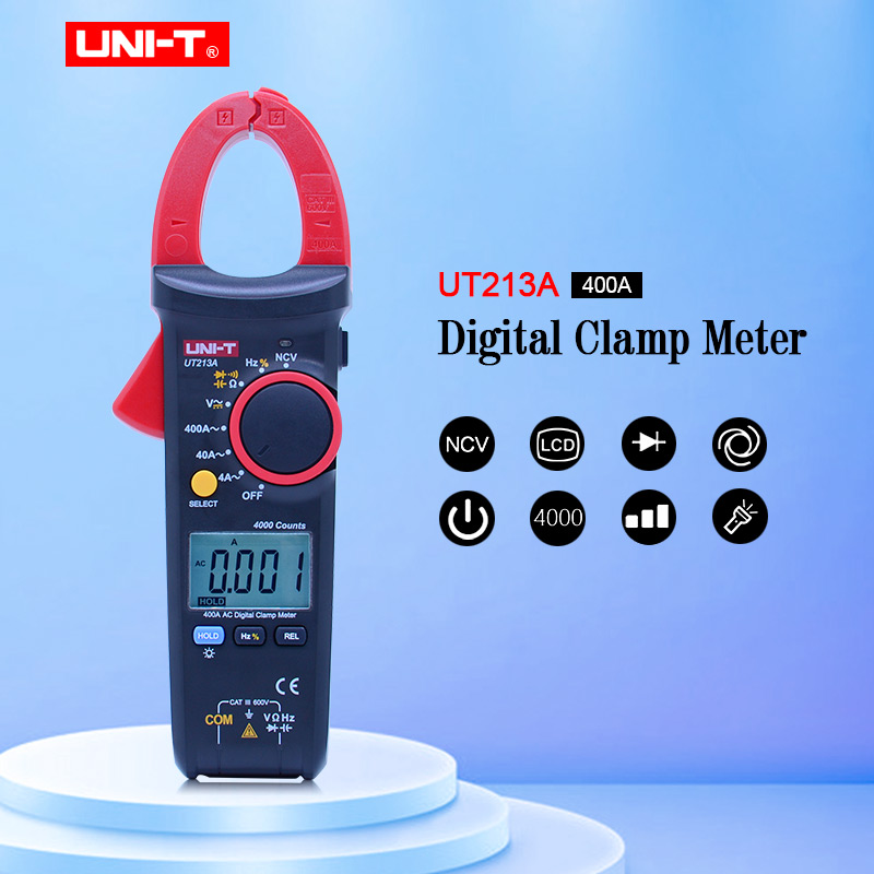 UNI T UT213A True RMS 400A Digital Clamp Meter AC DC Resistance Capacitance Frequency Clamp Digital