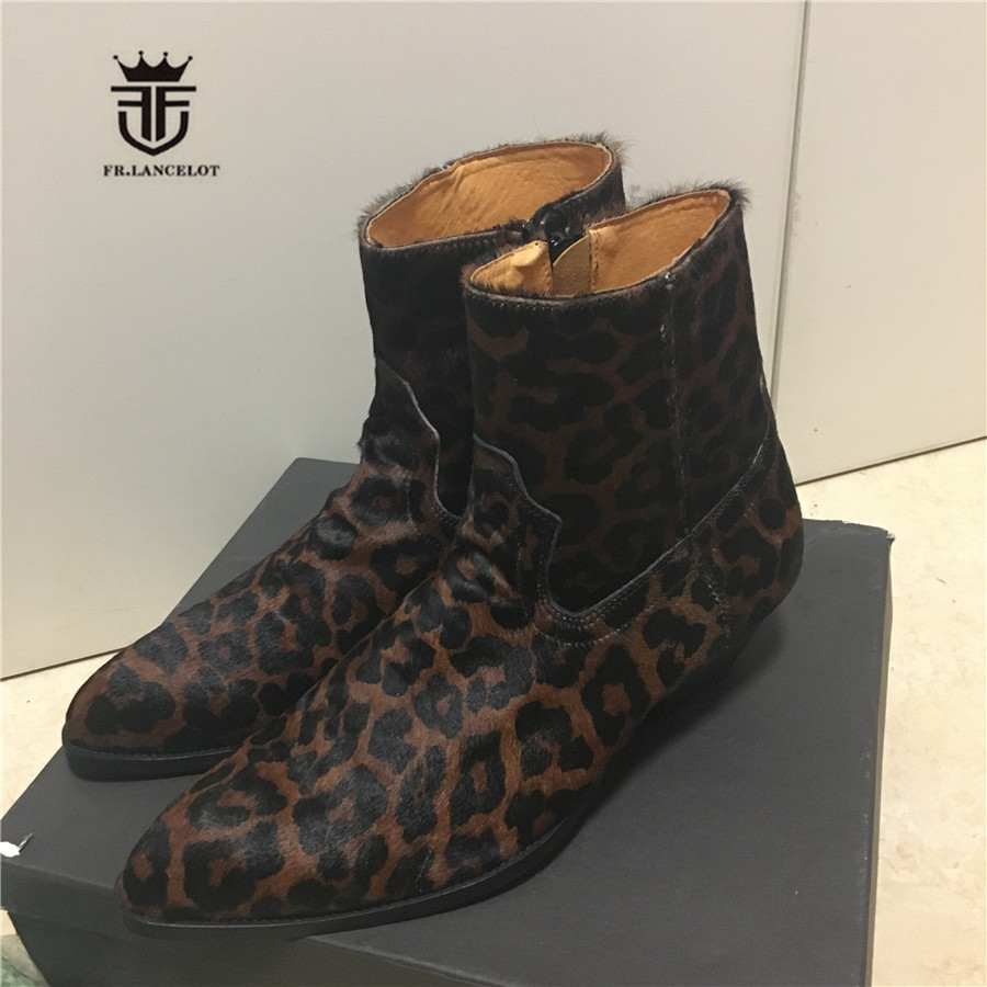 High End Personalized Handmade wedge Pointed Toed Leopard Fur Genuine Leather SLIM Men Boots Wedge Denim Skinny Chelsea Boots luxury handmade genuine leather zip slim wedge personalized high heel boots new chelsea boots