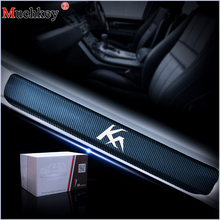 For Ford KA Door Sill Protector Car Welcome Pedal Stickers 4D Carbon Fiber Vinyl Sticker Auto Accessories 4Pcs
