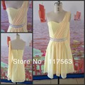 Free shipping!Real sample short one shoulder sleeveless beaded chiffon cocktail dress JW070