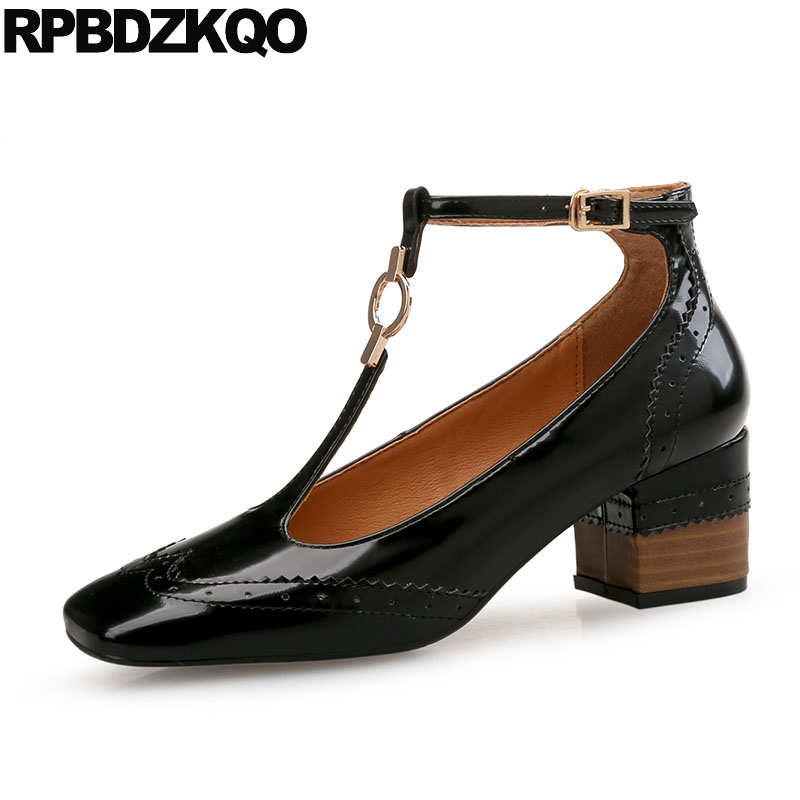 f9c709fc18a T Strap Brand Designer Shoes Women Bar Square Toe Patent Leather Wooden  Brogue Black High Heels Metal Pumps Japanese Chunky