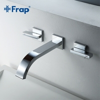 Frap Wall mounted Concealed Basin Faucet Chrome Brass Hot And Cold Water Bathroom Faucet Sink Double Handle Tap 3 Pcs Set Y10165