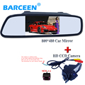 """4 IR wire shock-proof car reversing  camera+4.3""""lcd plastic shell car rearview mirror parking set for HYUNDAI I30 for KIA soul"""