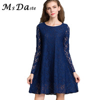 Plus Size 5XL 4XL 3XXXL 2016 New Spring Casual Lace Dresses Tunic Sexy Long Sleeve Vintage