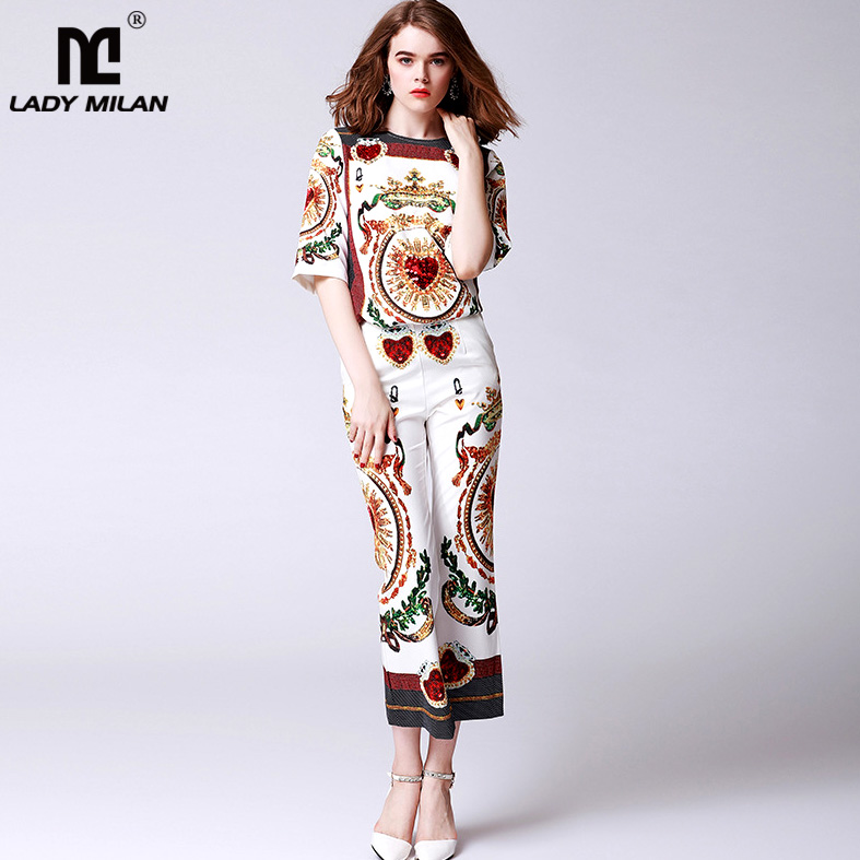 New Arrival Womens O Neck Half Sleeves Beaded Blouse with Printed Pants Fashion Two Piece Pants Sets