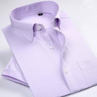 Summer Casual Men's Shirt Short Sleeve Shirt white High quality New Fashion Dress Shirts Mens Slim Fit Stripe Shirt Plus Size