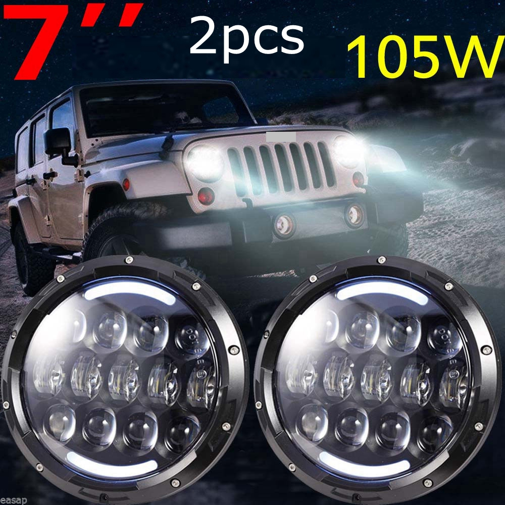 105w Round Daymaker Headlights Kit with Angle Eye HI/LO Beam White DRL/Amber Turn Signal DRL for Jeep Wrangler Jk LJ TJ CJ HUMME vosicky 7 inch led headlights for jeep wrangler daymaker with hi lo beam amber drl for tj lj jk cj 5 cj 7 cj 8 scrambler