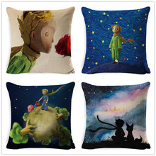 Fokusent Kids' Room Decorative Fairy Tale Little Prince Sofa Throw Pillow Case Cute Cartoon Stars Picking Animals Cushion Cover(China)