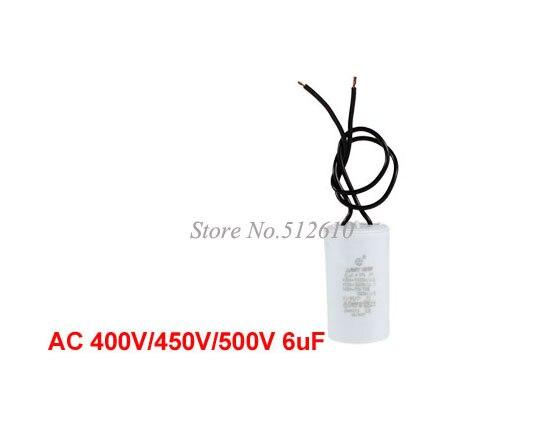 Best Promotion Wholesale Price AC 400V/450V/500V 6uF Motor Run Capacitor w 2 Wires for Washing Machine 10PCS