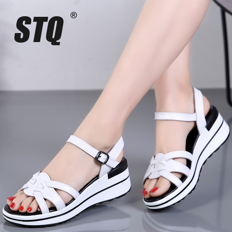 STQ Platform Sandals Flip-Flops Black Flat Heel Gladiator Women Wedge Beach Ladies 3593