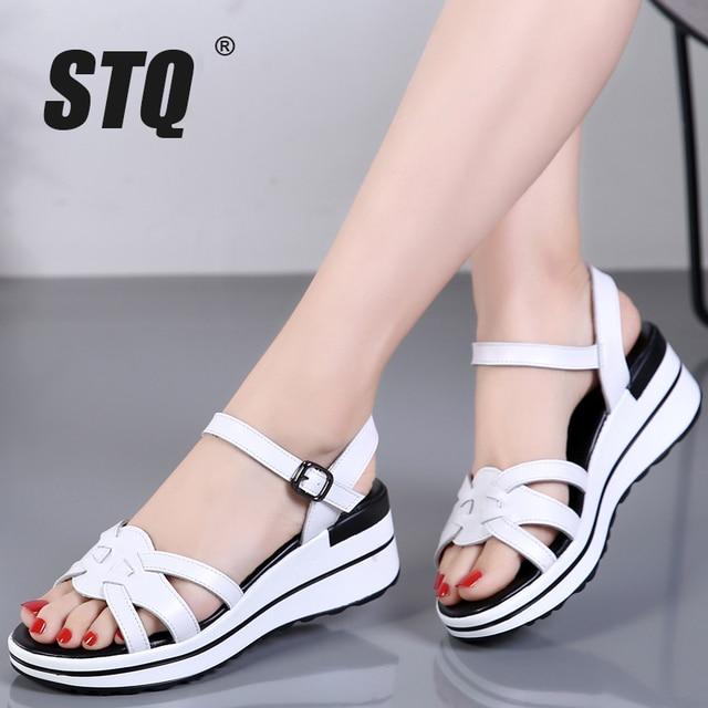 STQ 2020 Summer Women Sandals Black Flat Platform Sandals Women Wedge Beach Flip Flops Ladies Flat Heel Gladiator Sandals 3593