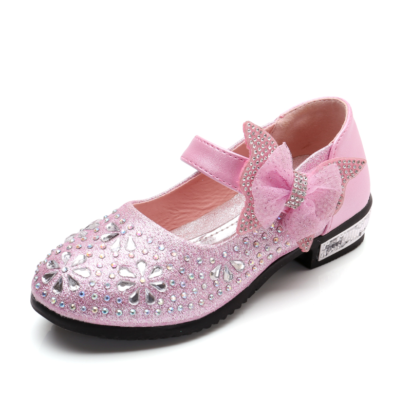 Bekamille Kids Shoes For Girl Autumn Girls Leather Shoes Heel Princess 2019 Fashion Rhinestone Bow Children  Leather Shoes SS003