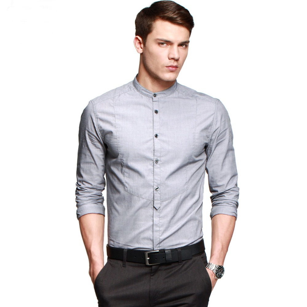 2014 hot mens slim fit shirt cotton casual mandarin collar for Mens collared t shirts