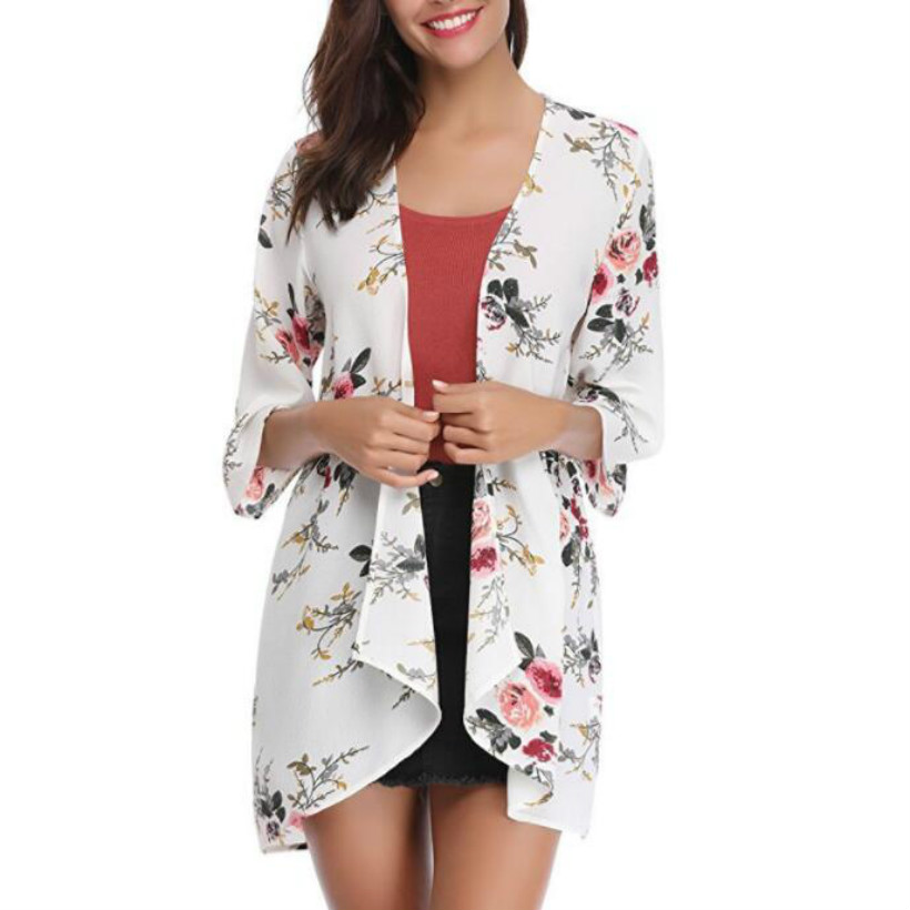 Womens Kimono Beach Cover Up Chiffon Cardigan Floral Tops Loose Capes