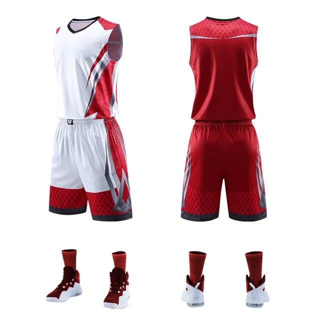 7d1ad4c1e02e8 Qualidade superior Das Mulheres Dos Homens de Basquete Jerseys Define  Uniformes Kit Esporte Roupas Camisas Shorts