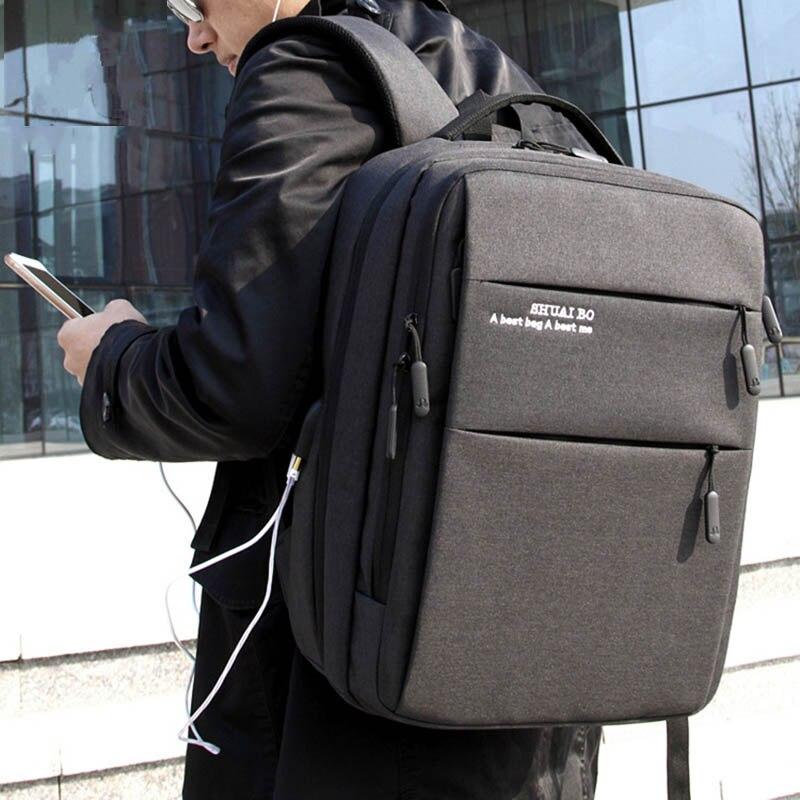 Sac à dos de voyage pour ordinateur portable hommes sac Pack grand collège école sac à dos avec Port de chargement USB résistant à l'eau sac à dos pour ordinateur portable-in Sacs à dos from Baggages et sacs    1