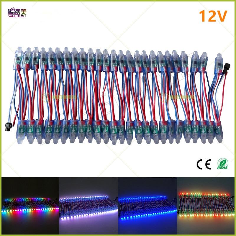 Image 2 - 500pcs/lot DC5V 12V 12mm ws2811 ic LED Module Black/Green/White/RWB Wires String Christmas Holiday led Pixel light Addressable-in LED Modules from Lights & Lighting