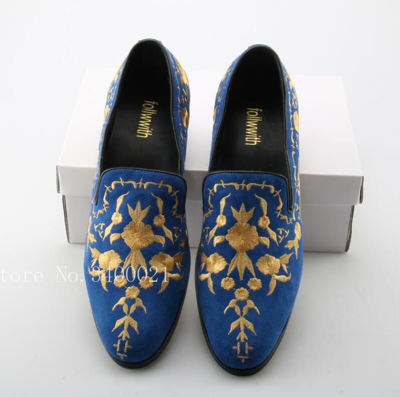 New Gold Embroidery Floral Round Toe Men Loafers Slip On Luxury Design Blue Suede Flats Square Heel Shoes Men Sapatos 2017 new flats men shoes zip round toe leather men loafers shoes fashion brand outdoor shoes casual sapatos masculino