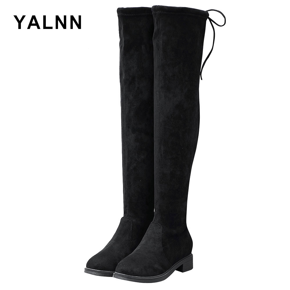Botas básicas hasta la rodilla YALNN botas de goma zapatos de invierno para mujer Botines sobre la rodilla botas para mujer botas de piel de cuero zapatos de invierno