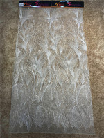 High Quality French Bead Lace Fabric off white 2018 Latest African Mesh Tulle Lace Fabric 5Yard Nigerian Guipure Lace Fabric