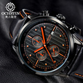 OCHSTIN Marca Nova Moda Casual Homem Leater Cinta Cronógrafo Masculino Relógio Militar Do Exército Esporte relógio De Pulso De Luxo Relógio de Quartzo GQ042