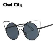 Newest Cat eye Sunglasses Women Brand Designer Classic Round Mirror Gradient Len Alloy Frame lunette de soleil femme UV400