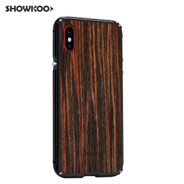 competitive price 2dcd4 464a6 US $64.38 28% OFF|Showkoo 5PCS/LOT New Retro Case for iPhone X CNC Aluminum  Bumper Wooden Back Cover Stylish Case Capa Fundas Coque Drop Shipping-in ...