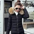 Осень зима леди девушка мода меховой воротник капюшоном хлопка Пальто Куртки Парки студент вскользь теплое пальто куртки