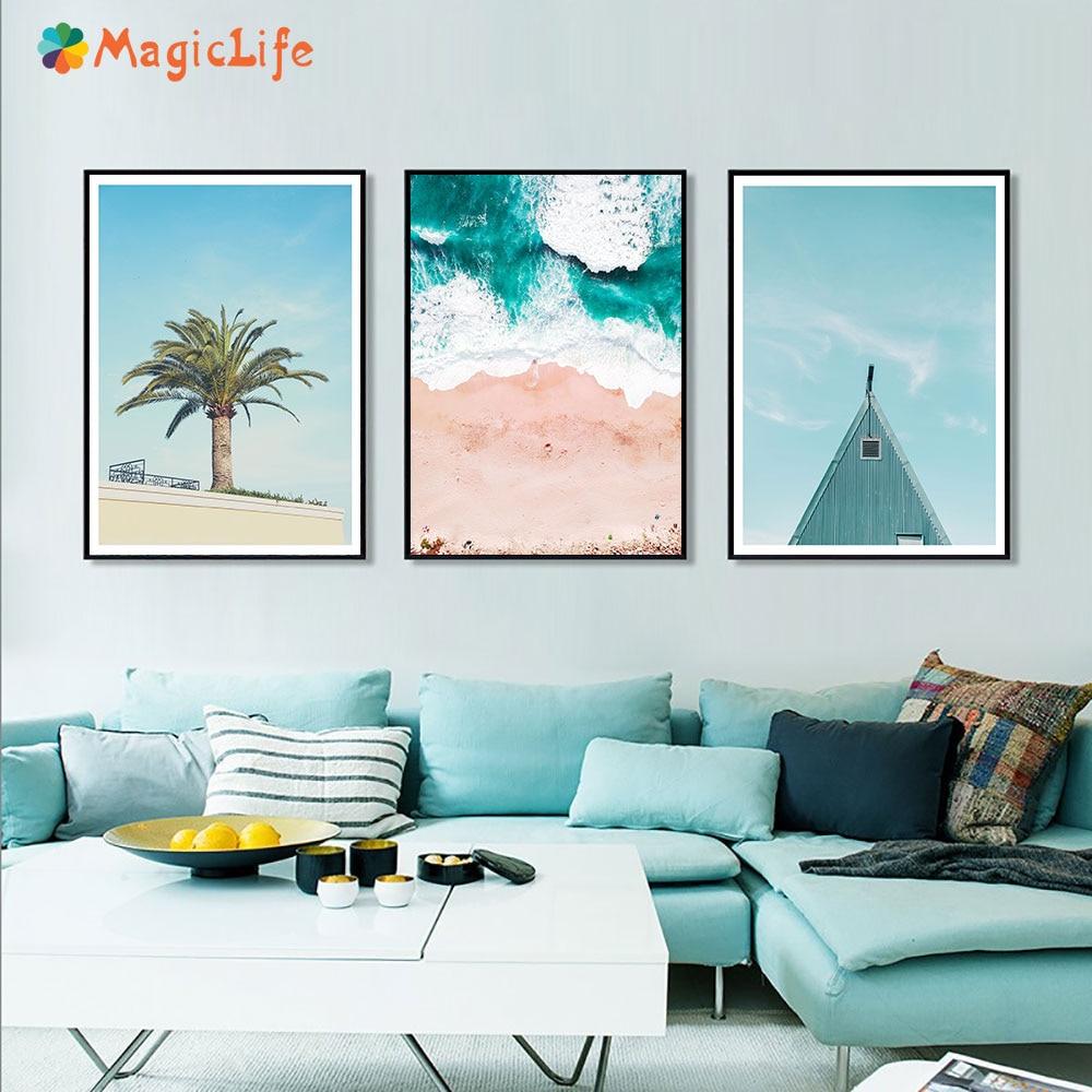 Seascape Print Picture Coconut Tree Painting Beach Wall Art Landscape Birds Canvas Nordic Decoration Unframed