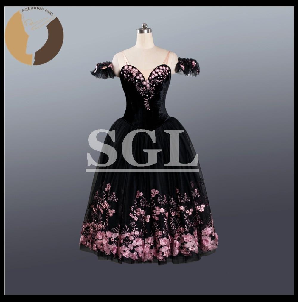 Взрослый бархат органов романтическая пачка Обувь для девочек длинное платье Производительность Балетные костюмы черный Цвет с розовый вы