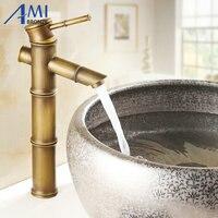 13 Antique Brass Faucet Bamboo Faucets crane Bathroom Sink Basin Mixer Tap 9034A