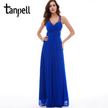 Tanpell v neck long evening dress royal blue sleeveless beaded floor length a line dresses women criss cross straps evening gown