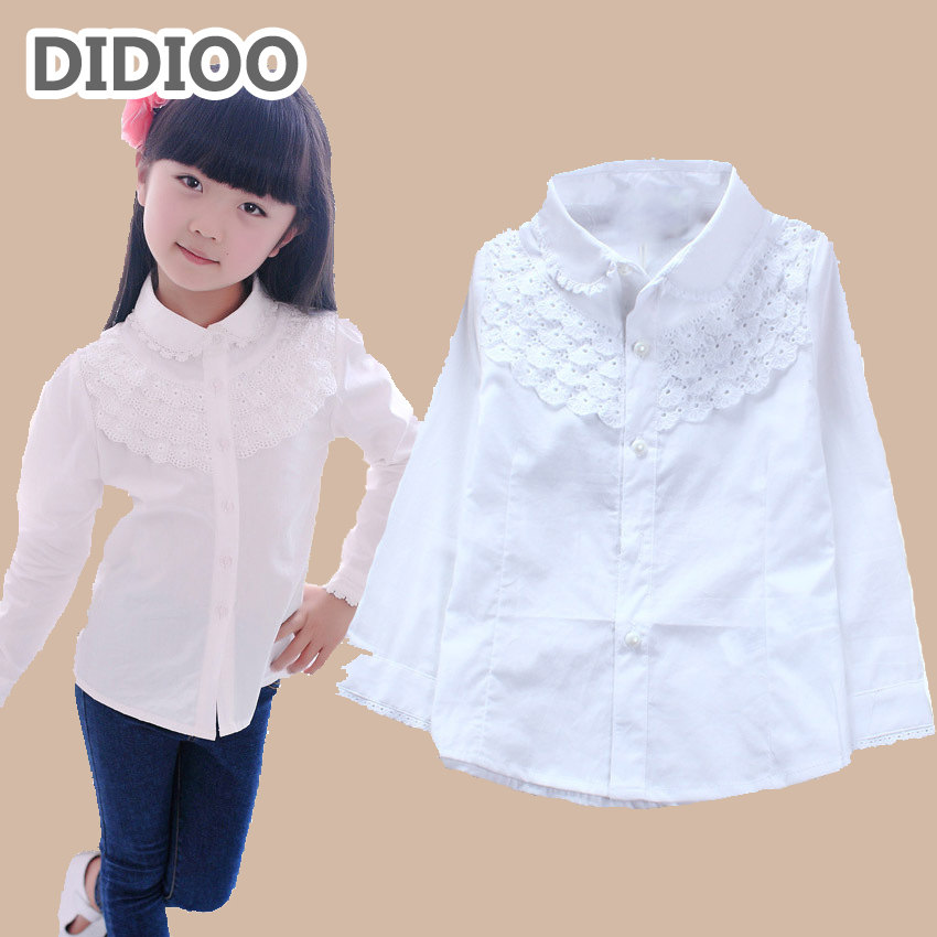 School uniform children white blouse for girls blouses cotton long sleeve girls shirts lace tun-down clollar big kids clothes