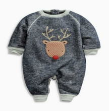2017 Christmas Deer Newborn Baby Boy Girls Cotton Long Sleeve Baby Rompers Autumn Soft Infant Baby Jumpsuits One-Pieces Clothes(China)