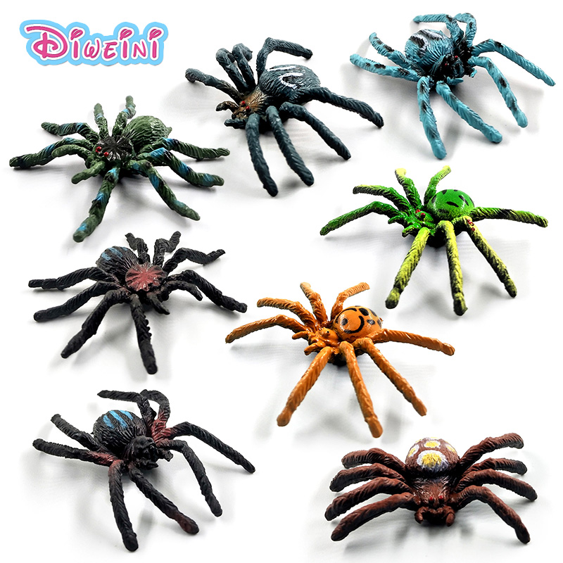 8pcs/Lot Simulation Spiders Insect Animal Model Lifelike Action Figure Home Decor Gift For Boy Girl Children Kids Hot Toys Set