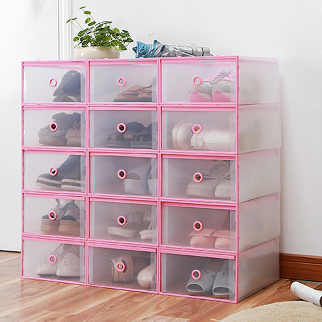 4PCS Shoes Wrapped Plastic Storage Box Drawer Type Transparent Plastic Shoes Box Drawer Storage & 4PCS Shoes Wrapped Plastic Storage Box Drawer Type Transparent ...