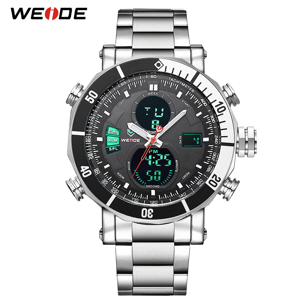 WEIDE Men Watch Relogio Quartz Auto Date Back Light Alarm Multiple Time Watch Stainless Steel Band Watch Wristwatch Men Watch