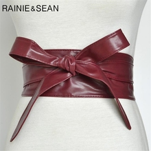 RAINIE SEAN Women Belt Leather Cummerbunds For Burgundy Coat Bow Self Tie Wrap Brand Ladies Fashion