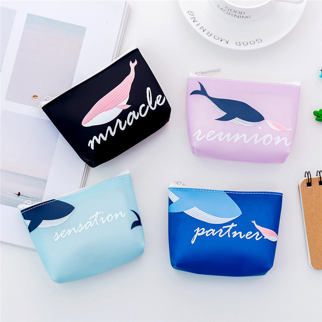 Cute Whale Pattern Coin Purse Card Holder PVC Leather Key Bag Sweet Small Wallet Mini Zipper Pocket Pouch Coin Purse