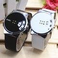2016 Новая Мода Молодежный Стиль Цифровой Дисплей Кварцевые Часы Известная Марка Кожаный Ремешок Женщины Одеваются Наручные Часы Студентка Часы