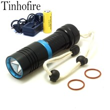 Tinhofire Diving 2000LM CREE XM-L L2 LED Torch diving depth 100M diving Underwater flashlight Light X1S +26650 battery + Charger