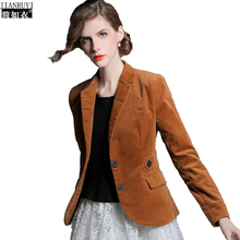 Office Lady Blazers Women Velvet blazer woman suit coat Slim Female Blazer Women 2017 Long Sleeve Blazer Jacket Dark Khaki