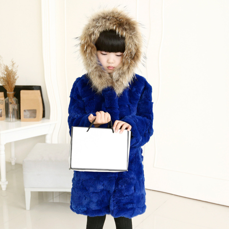 Children Real Rabbit Fur Coat Autumn Winter Baby Thick Warm Fur Clothes Girls Solid bule Long Coat whith Racoon Fur Collar C#23 2017 new winter jacket women long coat real large raccoon fur collar hooded and real rex rabbit fur thick warm liner