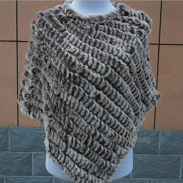 natural real knitted rabbit fur poncho shawl (28)