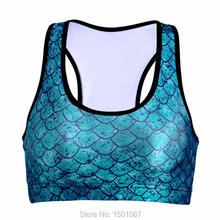 Women Sports Bras Padded Wireless Crop Top Fitness Yoga Running Tank Top Digital Print Shakeproof Breathable