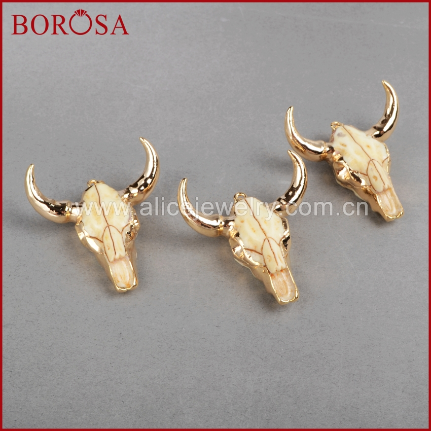 Image 3 - BOROSA buffalo Head bead ,Gold Color Bull Cattle Charm Bead Longhorn Resin Horn Cattle Pendant for Jewelry Accessories G0842-in Pendants from Jewelry & Accessories